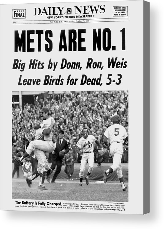 American League Baseball Acrylic Print featuring the photograph Daily News Front Page October 17, 1969 by New York Daily News Archive