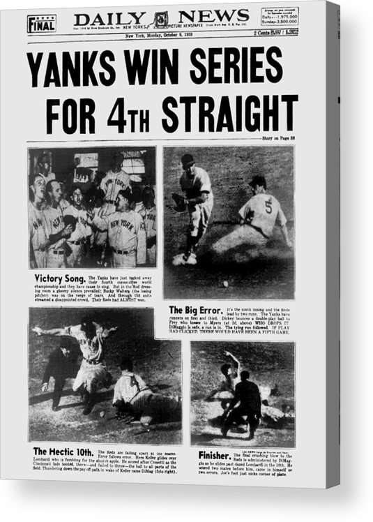 American League Baseball Acrylic Print featuring the photograph Daily News Front Page October 9, 1939 by New York Daily News Archive