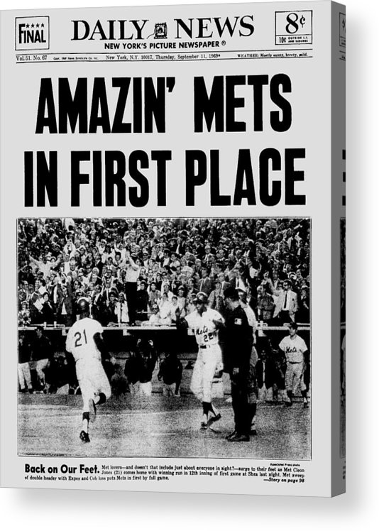 American League Baseball Acrylic Print featuring the photograph Daily News. Front Page. September, 11 by New York Daily News Archive
