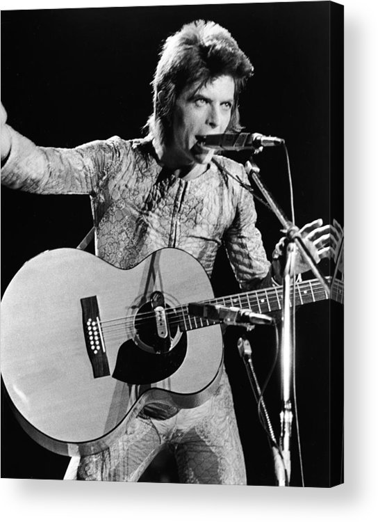 Ziggy Stardust - Persona Acrylic Print featuring the photograph David Bowie Performing As Ziggy Stardust by Hulton Archive