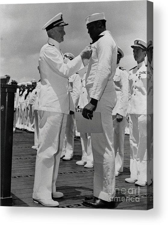 Honolulu Acrylic Print featuring the photograph Dorie Miller Receiving Navy Cross by Bettmann