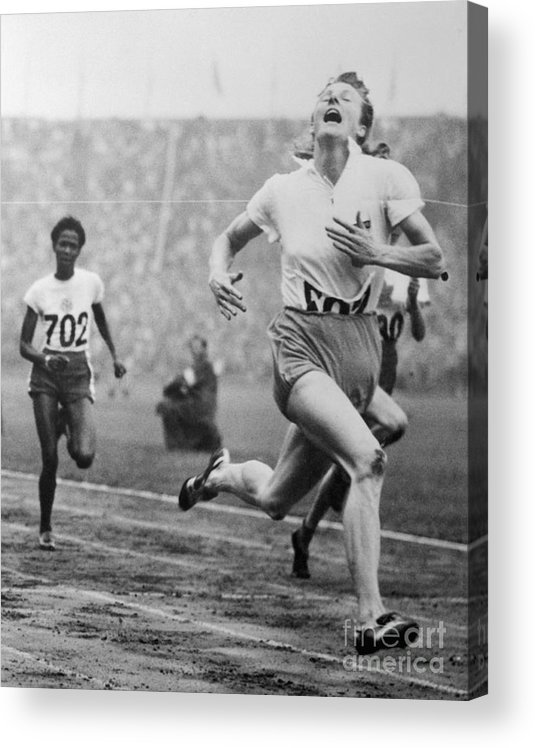 The Olympic Games Acrylic Print featuring the photograph Fanny Blankers-koen Winning 100-meter by Bettmann