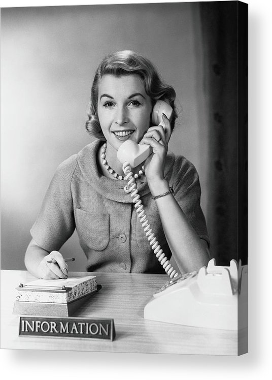 Mature Adult Acrylic Print featuring the photograph Female Telephone Receptionist At by H. Armstrong Roberts