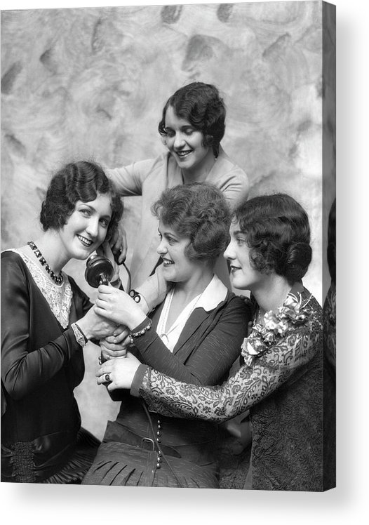 People Acrylic Print featuring the photograph Four Smiling, Marcel-waved Women. One by H. Armstrong Roberts