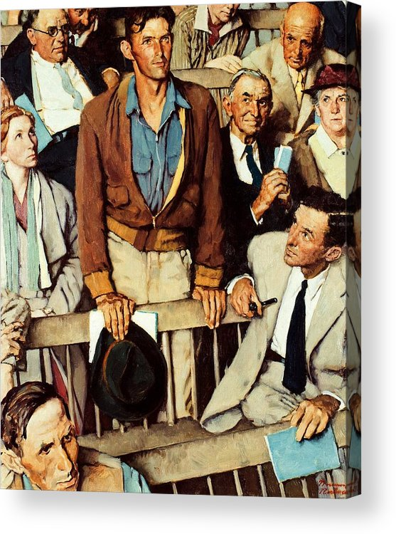 Man Standing Acrylic Print featuring the drawing Freedom Of Speech by Norman Rockwell