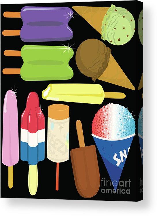 Mint Ice Cream Acrylic Print featuring the digital art Frozen Treats by Rangepuppies