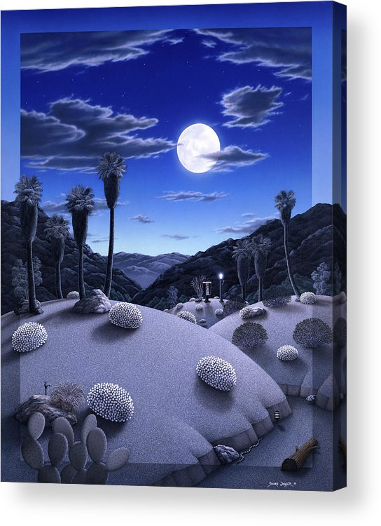 Desert Acrylic Print featuring the painting Full Moon Rising by Snake Jagger