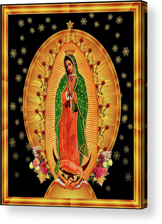 Virgin Guadalupe Mary Acrylic Print featuring the painting Guadalupe8 by Marcus Jules