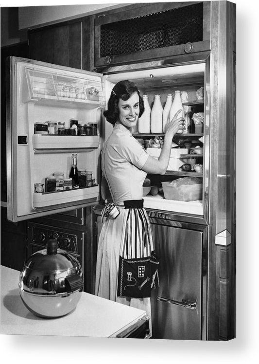 Milk Acrylic Print featuring the photograph House Wife Removing Milk From by George Marks