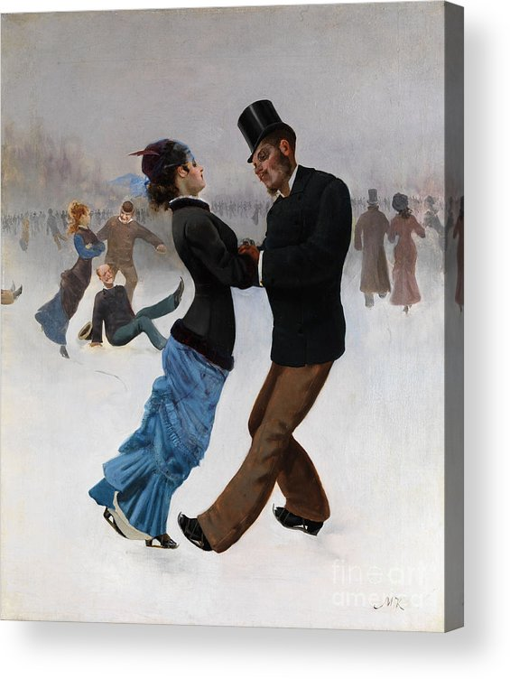 Oil Painting Acrylic Print featuring the drawing Ice Skaters, C. 1920. Artist Klinger by Heritage Images