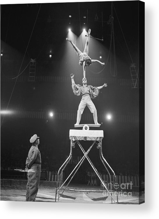 Mid Adult Women Acrylic Print featuring the photograph Italian Circus Performers Balancing by Bettmann