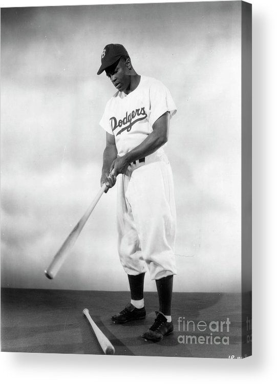 People Acrylic Print featuring the photograph Jackie Robinson Full Figure Portrait by Transcendental Graphics