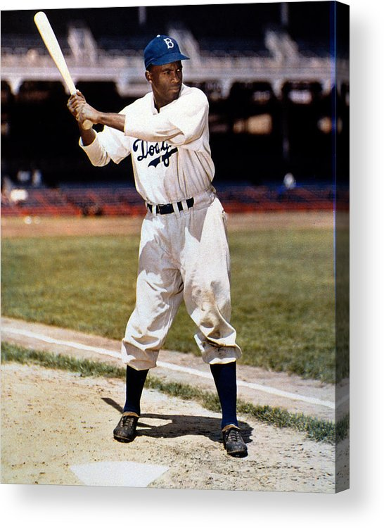 Jackie Robinson Acrylic Print featuring the photograph Jackie Robinson Of The Brooklyn Dodgers by New York Daily News Archive