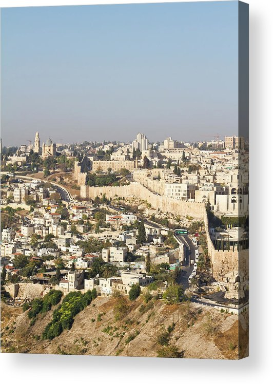 Built Structure Acrylic Print featuring the photograph Jerusalem City Wall From A Distance by Raquel Lonas