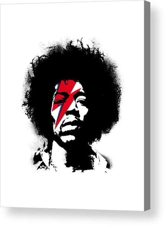 Jimi Hendrix Acrylic Print featuring the painting Jimi x ziggy stardust by Art Popop