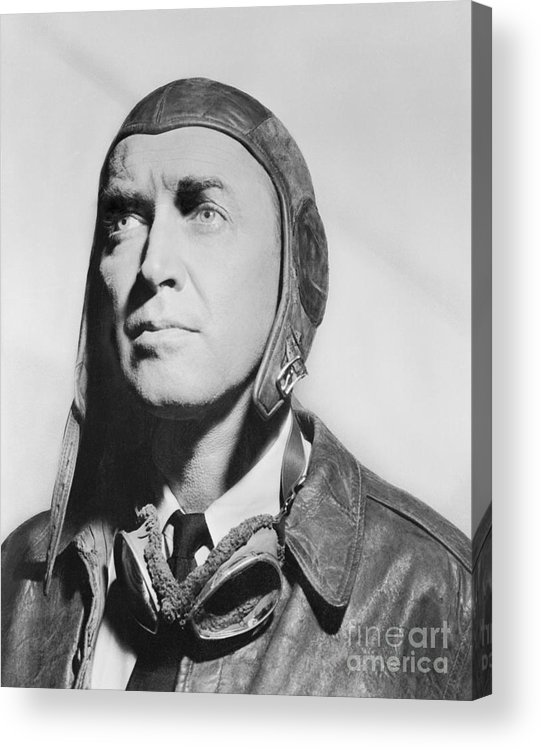 Jimmy Stewart Acrylic Print featuring the photograph Jimmy Stewart Wearing Aviator Attire by Bettmann