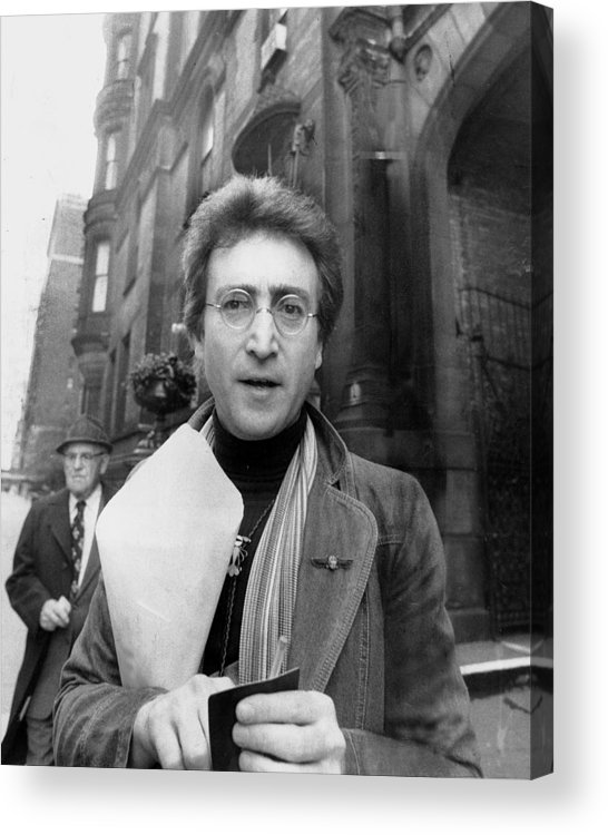 Apartment Acrylic Print featuring the photograph John Lennon Returning From Florist Shop by New York Daily News Archive