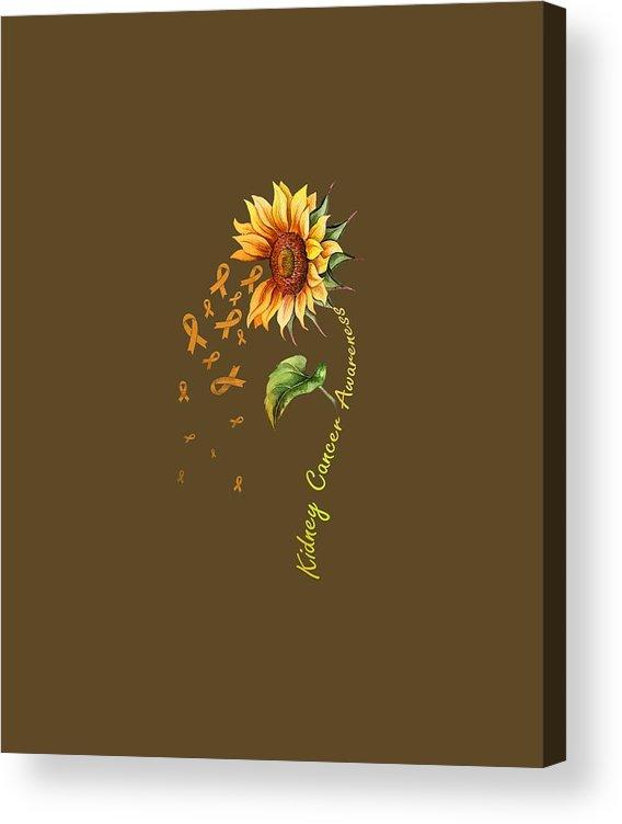 girls' Novelty T-shirts Acrylic Print featuring the digital art Kidney Cancer Awareness Sunflower Shirt by Do David