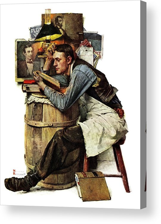 Books Acrylic Print featuring the drawing Law Student by Norman Rockwell