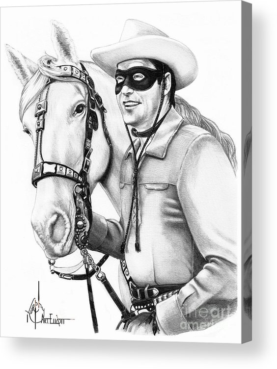 Pencil Acrylic Print featuring the drawing Lone Ranger by Murphy Elliott