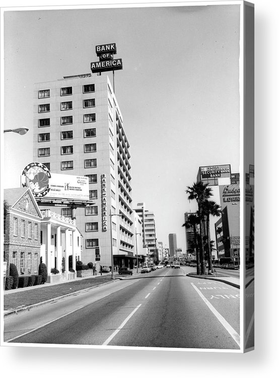 East Acrylic Print featuring the photograph Looking East On Wilshire Boulevard by American Stock Archive
