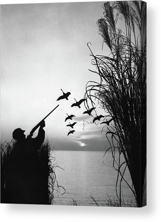 Rifle Acrylic Print featuring the photograph Man Duck-hunting by Stockbyte