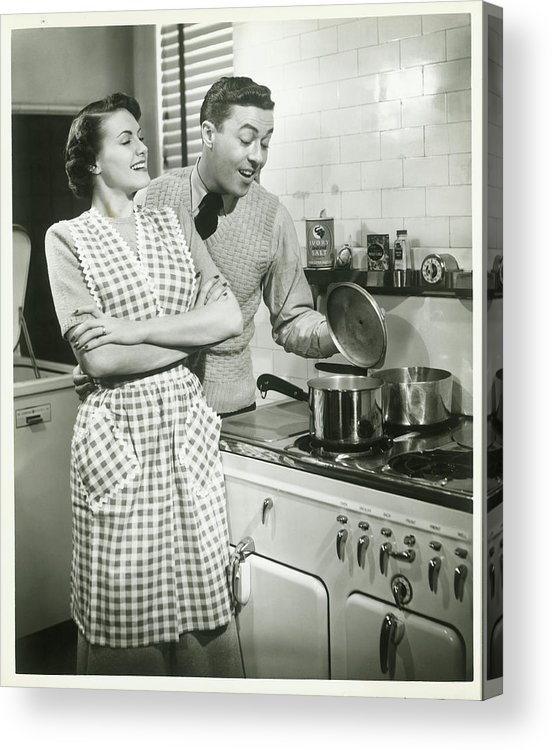 Heterosexual Couple Acrylic Print featuring the photograph Man Looking Into Pot In Domestic by George Marks