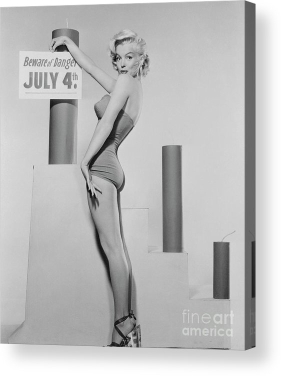Firework Display Acrylic Print featuring the photograph Marilyn Monroe Advertising Safety by Bettmann