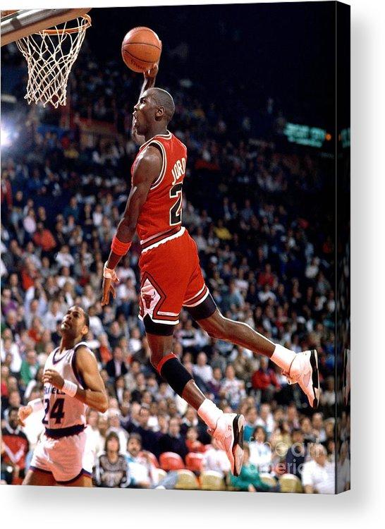 Chicago Bulls Acrylic Print featuring the photograph Michael Jordan Action Portrait by Jerry Wachter