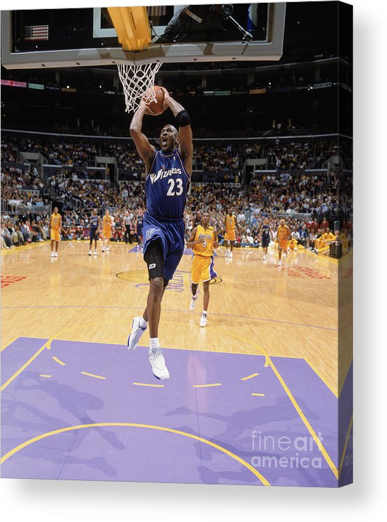 Nba Pro Basketball Acrylic Print featuring the photograph Michael Jordan Goes Up by Andrew D. Bernstein
