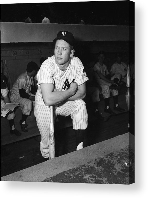 American League Baseball Acrylic Print featuring the photograph Mickey Mantle In Yankee Dugout by Frederic Lewis
