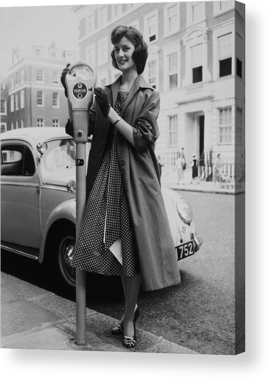Coin Acrylic Print featuring the photograph Miss Lorraine Buist Putting A Coin Into by Keystone-france