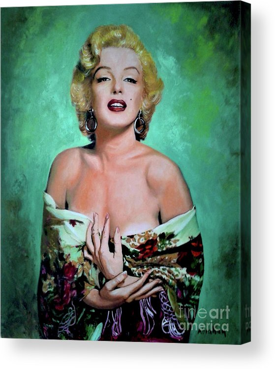 Woman Acrylic Print featuring the painting M.Monroe 4 by Jose Manuel Abraham