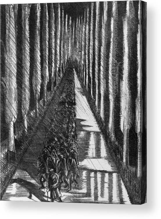 B1019 Acrylic Print featuring the drawing Men Marching At Night, 1918 by Paul Nash