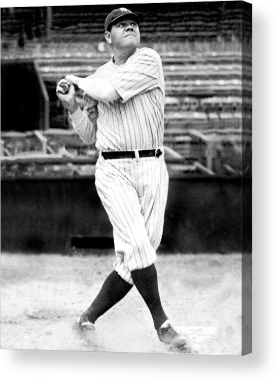 People Acrylic Print featuring the photograph New York Yankees Babe Ruth Swinging His by New York Daily News Archive