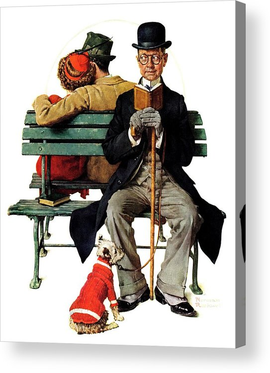 Benches Acrylic Print featuring the drawing overheard Lovers (man On Park Bench) by Norman Rockwell