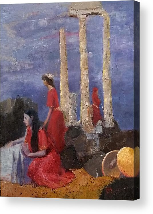Women Acrylic Print featuring the painting SOLD Penelope Awaiting Odysseus SOLD by Irena Jablonski