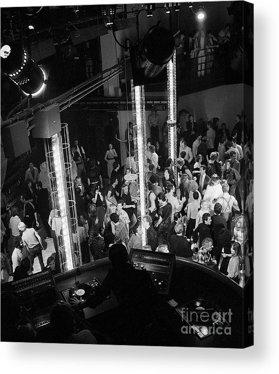 Crowd Of People Acrylic Print featuring the photograph People Dancing At Studio 54 by Bettmann
