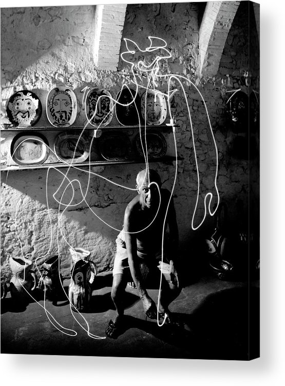 Pablo Picasso Acrylic Print featuring the photograph Picasso Drawing With Light by Gjon Mili