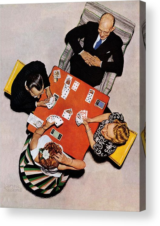 Bridge Acrylic Print featuring the drawing Playing Cards by Norman Rockwell