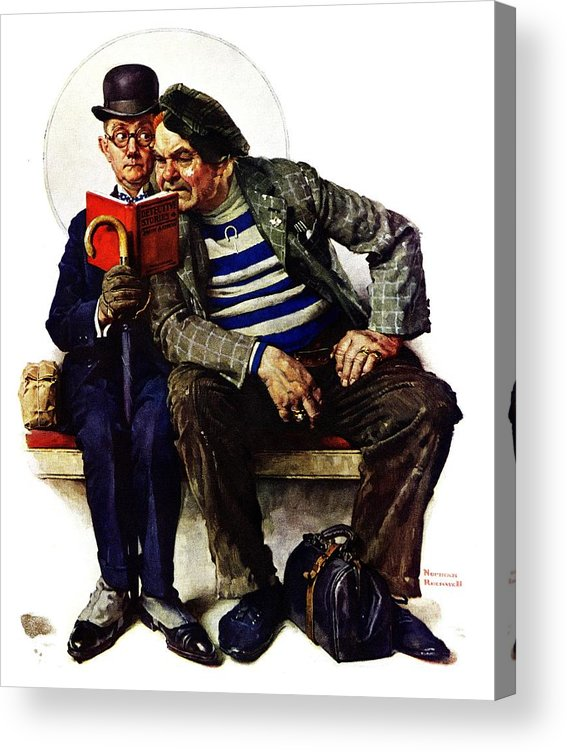 Books Acrylic Print featuring the drawing plot Thickens by Norman Rockwell