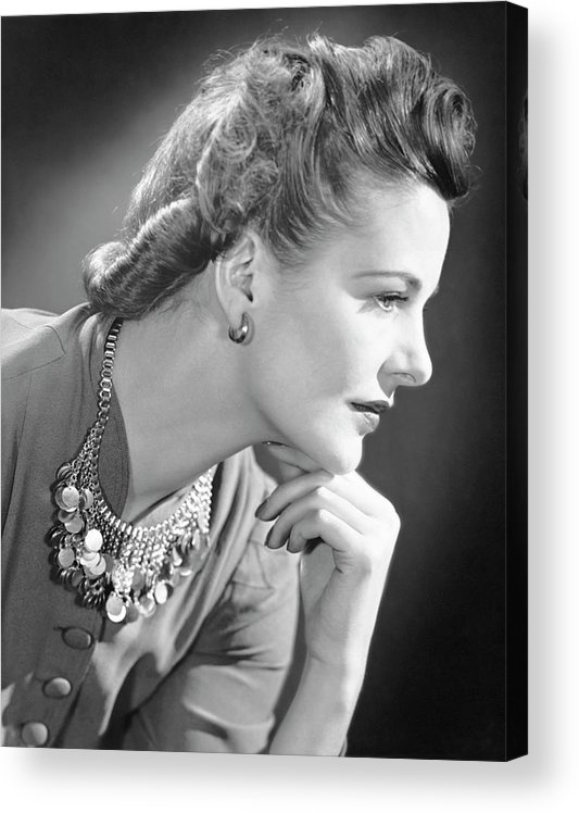 People Acrylic Print featuring the photograph Portrait Of A Thinking Woman by George Marks