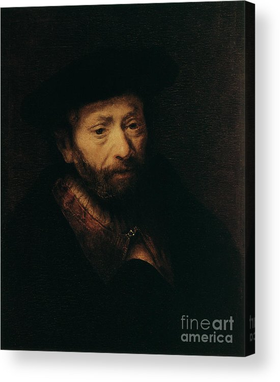 Headwear Acrylic Print featuring the drawing Portrait Of An Old Man, 17th Century by Print Collector