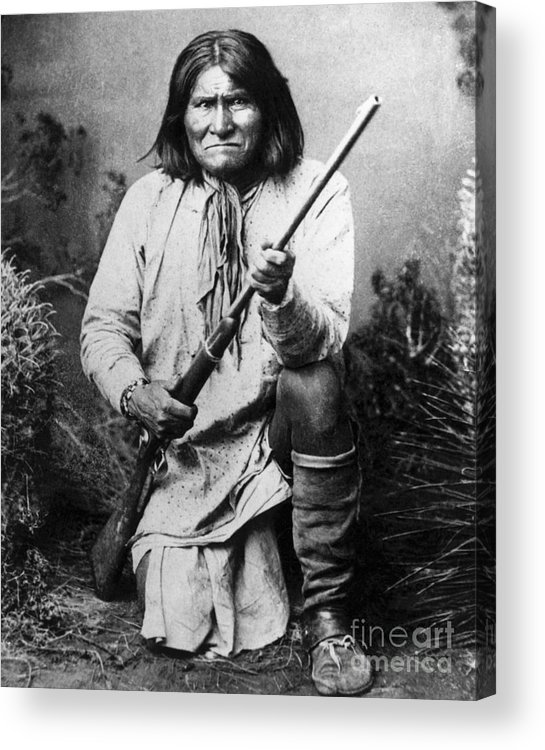 Rifle Acrylic Print featuring the photograph Portrait Of Apache Chief Geronimo by Bettmann