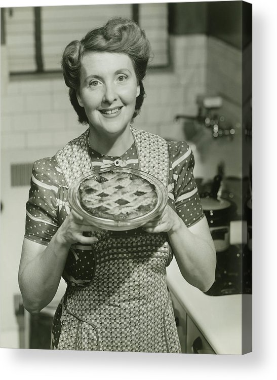 Mature Adult Acrylic Print featuring the photograph Portrait Of Mature Woman Holding Pie by George Marks