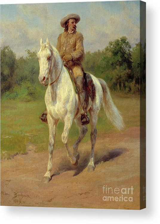 Portrait Of William Frederic Cody Acrylic Print featuring the painting Portrait Of William Frederic Cody, Known As Buffalo Bill by Rosa Bonheur