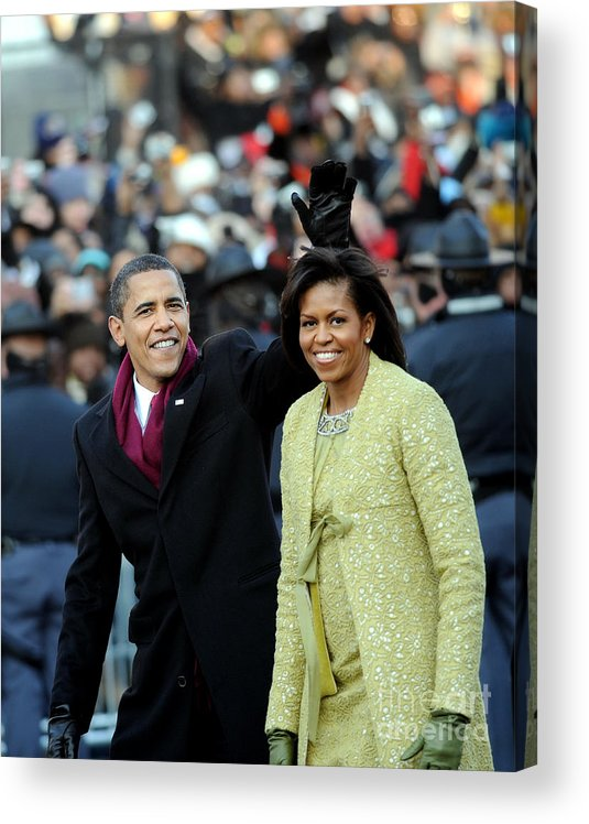Inauguration Into Office Acrylic Print featuring the photograph President Barack Obama And First Lady by New York Daily News Archive