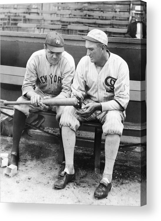 American League Baseball Acrylic Print featuring the photograph Shoeless Joe Jackson And Babe Ruth by New York Daily News Archive