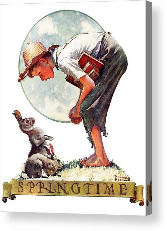 Books Acrylic Print featuring the drawing springtime, 1935 Boy With Bunny by Norman Rockwell