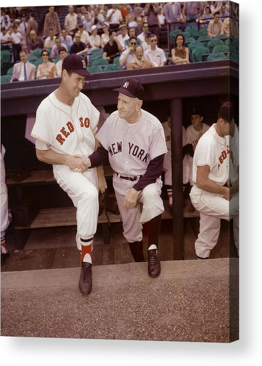1950-1959 Acrylic Print featuring the photograph Ted Williams & Casey Stengel by Hulton Archive
